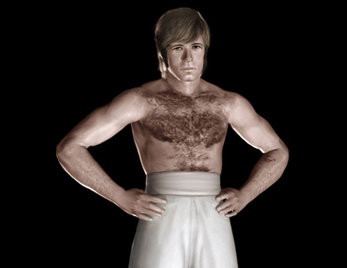 Chuck Norris as Colt from The Way of the Dragon full body strong pose shirtless CGI rendering