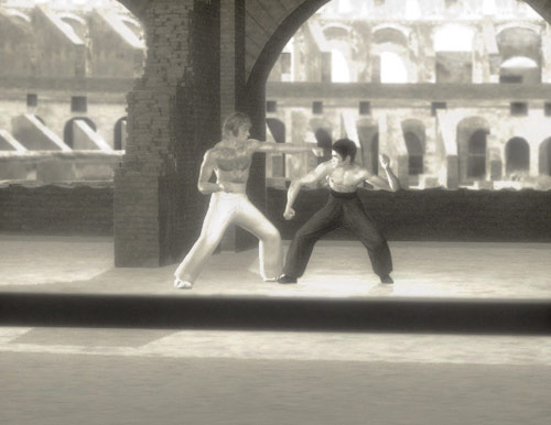 Bruce Lee as Tang Lung vs Chuck Norris as Colt in the classic fight in Colosseum from The Way of the Dragon movie CGI rendering by Marten Go aka MGO
