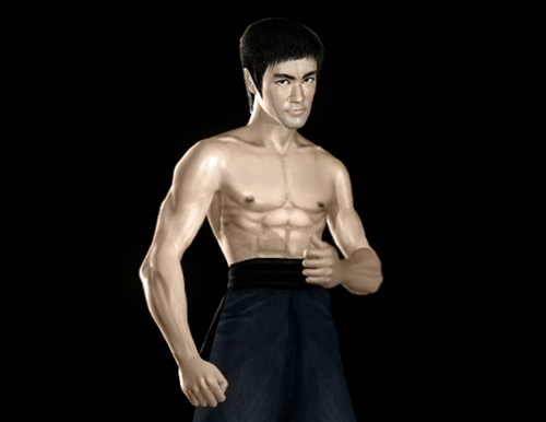 Bruce Lee as Tang Lung from The Way of the Dragon full body strong pose shirtless CGI rendering