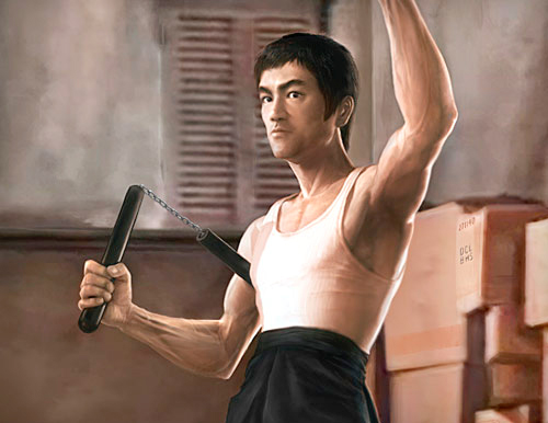 Bruce Lee as Tang Lung posing with one arm raised and other arm clutching nunchaku in classic scene from The Way of the Dragon movie tribute poster illustration 					by Marten Go aka MGO