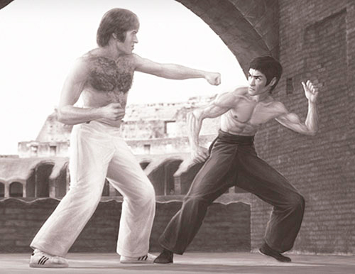 Bruce Lee as Tang Lung vs Chuck Norris as Colt in the classic fight in Colosseum from The Way of the Dragon movie tribute poster illustration by Marten Go aka MGO