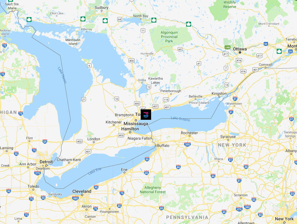 Ontario map featuring PD