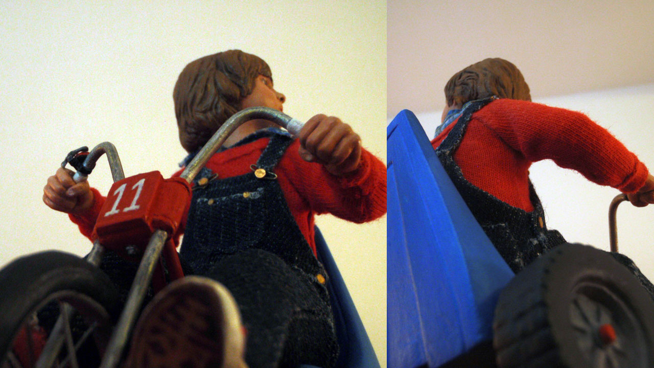 Two images up close of the completed miniature statue of Danny Torrance in various angles on base