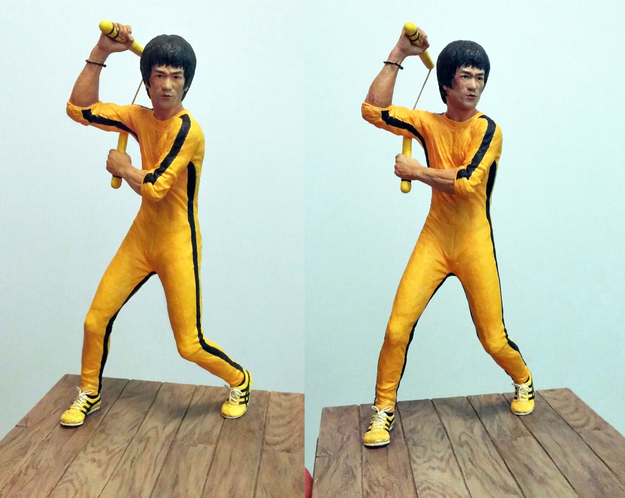 Two full body images of the completed miniature statue Hai Tien of Game of Death with nunchaku and base