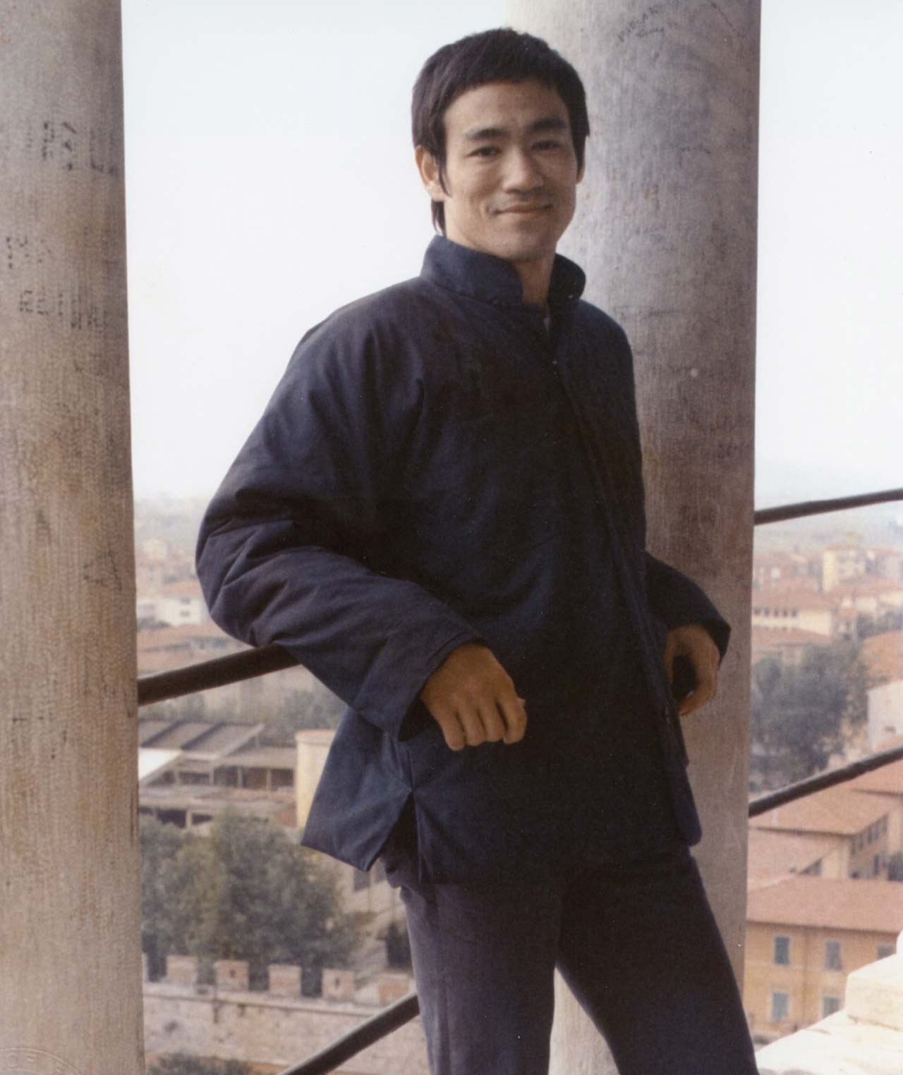 Color photo of martial artist, philosophist, actor, writer, director and producer, Bruce Lee Jun Fan in Rome