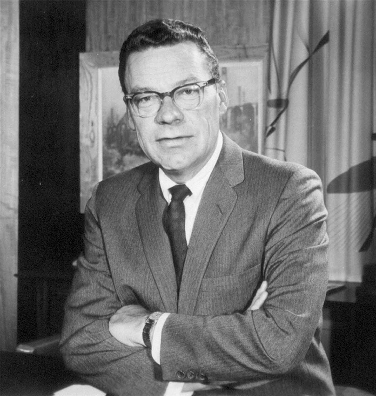 Black and white photo of the Master and Dean of Personal Development, Earl Nightingale