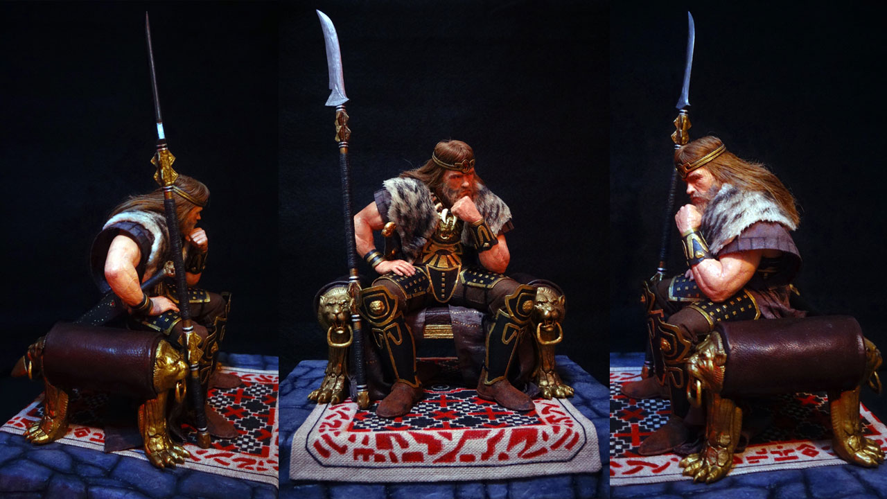 Three images side by side by side in full body shots of the completed miniature statue of King Conan in various angles on base
