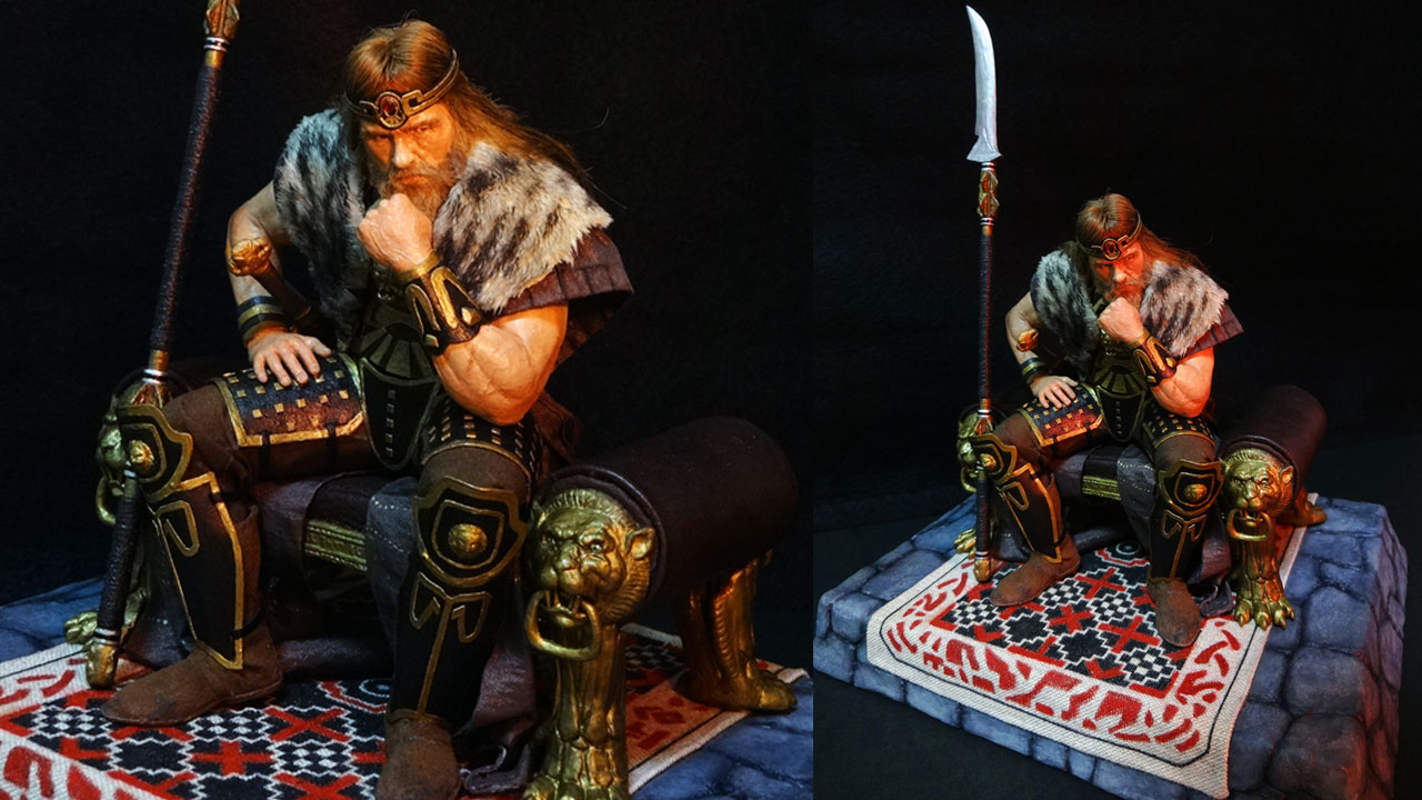 Two images side by side in full body shot with base of the completed miniature statue of King Conan