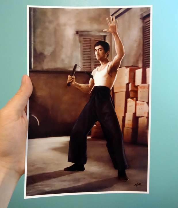 Bruce Lee tribute painting as postcard print by Marten Go aka MGO