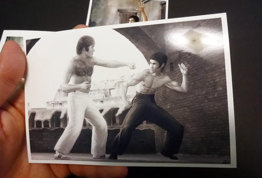 Bruce Lee vs Chuck Norris tribute painting as postcard print by Marten Go aka MGO