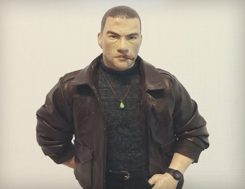 Jean Claude Van Damme as Alex Wagner in Double Impact as the street savy twin wearing brown leather jacket and smoking cigar a work in progress statue by Marten Go aka MGO