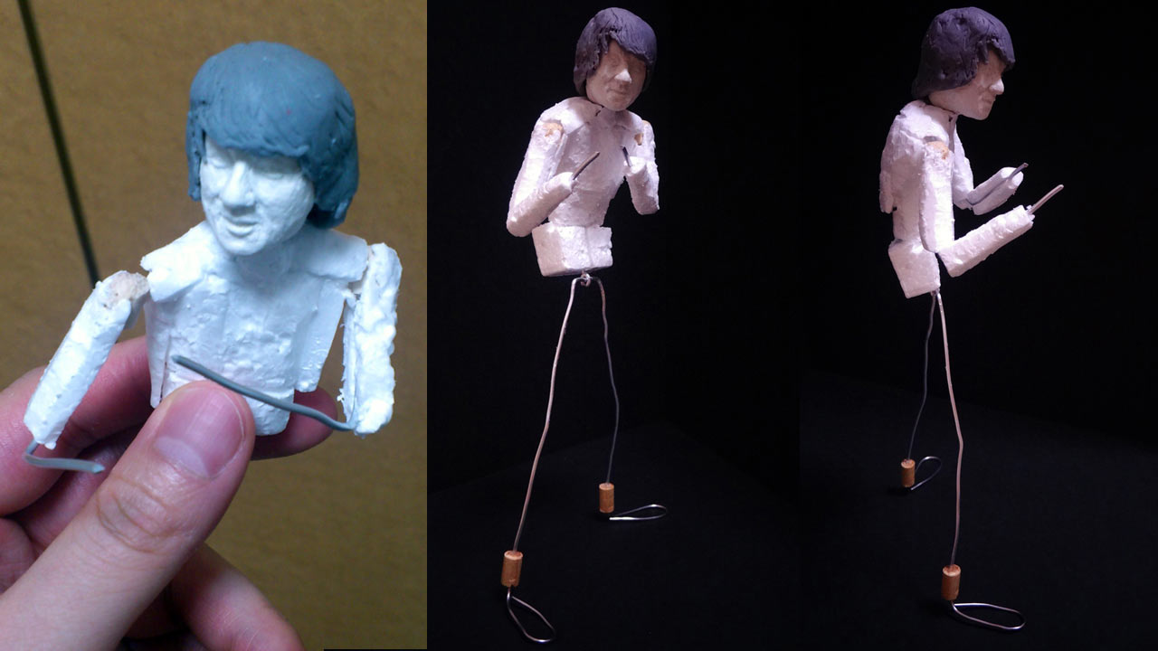 Three images side by side by side by side of the miniature torso of statue coated in styrofoam and limbs made of aluminum wires